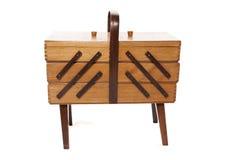 Retro wooden Sewing box Stock Photos