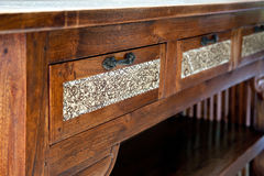 Retro wooden table. Oriental style retro wooden table with opened drawer Royalty Free Stock Photos