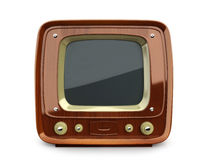 Retro wooden TV. Front view on a white background Stock Photography