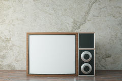 Retro wooden TV. On concrete background. Mock up, 3D Rendering Stock Photo