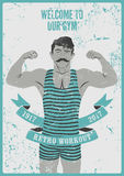 Retro Workout typographic Gym vintage grunge poster design with strong man.  Royalty Free Stock Photos