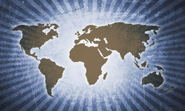 Retro world map. In blue grunge background with sunbeam effect royalty free stock images