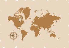Retro world map with compass, vector illustration isolated on brown background.  Royalty Free Stock Photo