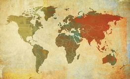 Retro  world map. Illustration - World map retro with colored texture grunge suitable for all uses for text or website use as banner Stock Photos