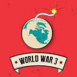 Retro World War 3 poster on old background Stock Photography