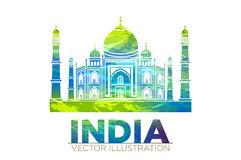 Retro World Wonder of Taj Mahal Palace in India Vector Illustration Royalty Free Stock Photography