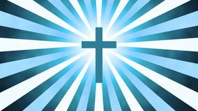 Retro worship cross. Christian worship and prayer based sunburst and light rays background loop in 4K HD resolution. Useful for divine, spiritual, fantasy royalty free illustration
