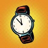 Retro wrist watch with leather strap Stock Photo
