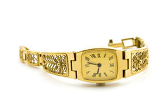 Retro wristwatch. Isolated on white stock photo