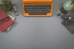 Retro writers hero header image. Top view of Retro writers office desk of the eighties. Hero header image Stock Photography