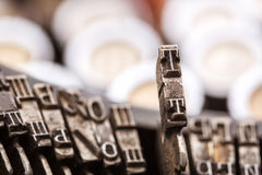 Retro writing machine type bars closeup Stock Photo