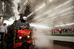 Retro WWII train arrived in Moscow Royalty Free Stock Photography