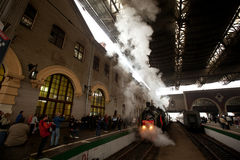 Retro WWII train arrived in Moscow Stock Photo