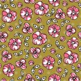 Retro wzór z prostymi doodle kwiatami Zdjęcia Stock