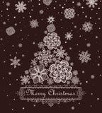 Retro xmas greeting with paper snowflakes Stock Image