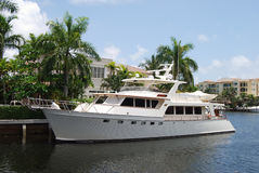 Retro yacht del motore Fotografie Stock Libere da Diritti