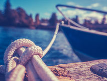 Retro Yacht In Harbor Stock Photography