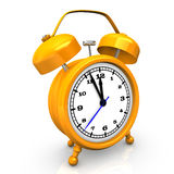 Retro yellow alarm clock Stock Photo