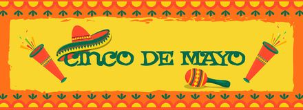 Retro yellow background with bunting decoration, sombrero hat  and maracas, header banner or poster design. Retro yellow background with bunting decoration stock illustration