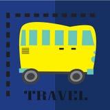 The retro yellow bus flat vector illustration Royalty Free Stock Photo
