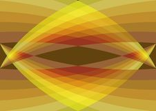 Retro yellow curves converge. Abstract illustrated 2d graphic background Royalty Free Stock Image