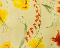 Retro Yellow Floral Pattern Fabric Background Royalty Free Stock Photography