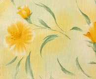 Retro Yellow  Floral Pattern Fabric Background Royalty Free Stock Images