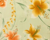 Retro Yellow Orange Floral Pattern Fabric Background Stock Photos