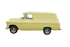 Retro yellow panel van. Large, vintage yellow panel van on white Royalty Free Stock Photo