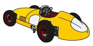 Retro yellow racecar. Hand drawing of a vintage yellow racing car Royalty Free Stock Photography