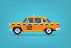 Retro yellow taxi cab. Classic taxicab icon. Vector flat style illustration. Royalty Free Stock Photos