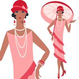 Retro young beautiful girl of 1920s style Royalty Free Stock Images