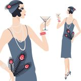Retro young beautiful girl of 1920s style Royalty Free Stock Photos