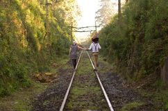 Retro young love couple vintage train tracks Royalty Free Stock Images