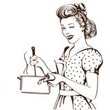 Retro young woman in retro clothes cooking soup in her kitchen r. Oom.Vector graphic illustration Stock Illustration