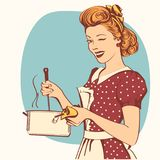 Retro young woman in retro clothes cooking soup. Retro young woman in retro clothes cooking soup in her kitchen room.Vector color illustration Stock Illustration