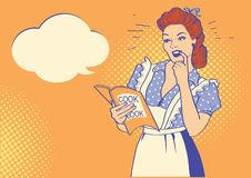 Retro young woman with cooking book. Pop art drawing illustration background. Retro young woman with cooking book and speech bubble for text. Pop art drawing royalty free illustration