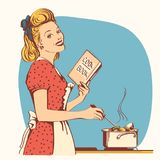 Retro young woman in red old fashioned dress cooking soup in her. Kitchen room.Reto style illustration Stock Illustration