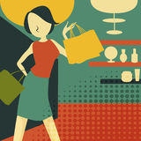 Retro young woman at shopping. Vector illustration Stock Image