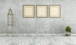 Retro żywy pokój bez meble Obraz Stock