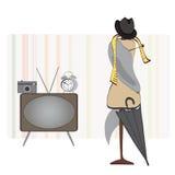 Retro Zaal. Wekker, TV, Fotocamera, Hoed en Paraplu en Model. Reeks Voorwerpen Royalty-vrije Stock Foto