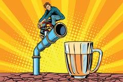 Retro zakenman opent een tapkraanpijp voor drank royalty-vrije illustratie