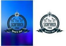 Retro zeevaarderstatoegering of mariene banner Royalty-vrije Stock Afbeelding