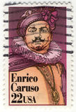 Retro zegel met Enrico Caruso Stock Fotografie