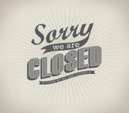 Retro- Zeichen der geschlossenen Weinlese Lizenzfreie Stockfotografie