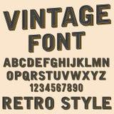 Retro- Zeichen des Alphabetes 3d und der Zahl, alte Typografieart, Vektorkarikatur-Gussbuchstaben Lizenzfreies Stockbild
