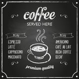 Retro- Zeichen mit Kaffeemenü Lizenzfreies Stockfoto