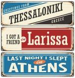Retro znaki ustawiający z miastami w Grecja Obraz Stock