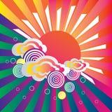 Retro zon en wolkenachtergrond Royalty-vrije Stock Foto's