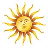 Retro zon op witte, vectorillustratie Stock Afbeeldingen